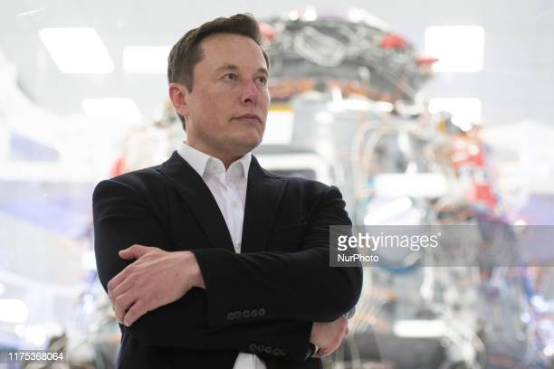 SpaceX Chief Engineer Elon Musk speaks in front of Crew Dragon cleanroom at SpaceX Headquarters in Hawthorne, California on October 10, 2019.