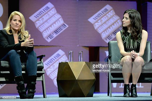 """SpaceX COO Gwynne Shotwell and The Information Founder Editor in Chief and Moderator Jessica Lessin speak onstage during """"Slingshots and Moonshots""""..."""