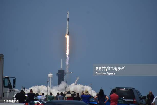 SpaceX Falcon 9 rocket carrying the Crew Dragon spacecraft lifts off from launch complex 39A at the Kennedy Space Center in Florida, United States on...