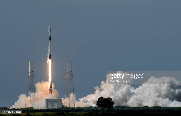 SpaceX Falcon 9 rocket carrying the GPS III SV03 navigation satellite for the U.S. Space Force launches from pad 40 at Cape Canaveral Air Force...