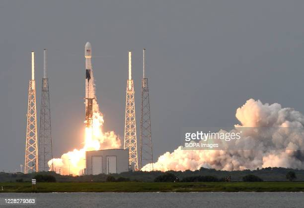 SpaceX Falcon 9 rocket carrying the SAOCOM 1B earth observation satellite for CONAE, Argentina's space agency, launched from pad 40 at Cape Canaveral...