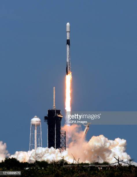 SpaceX Falcon 9 rocket carrying the seventh batch of 60 Starlink satellites successfully launches from pad 39A at the Kennedy Space Center in...