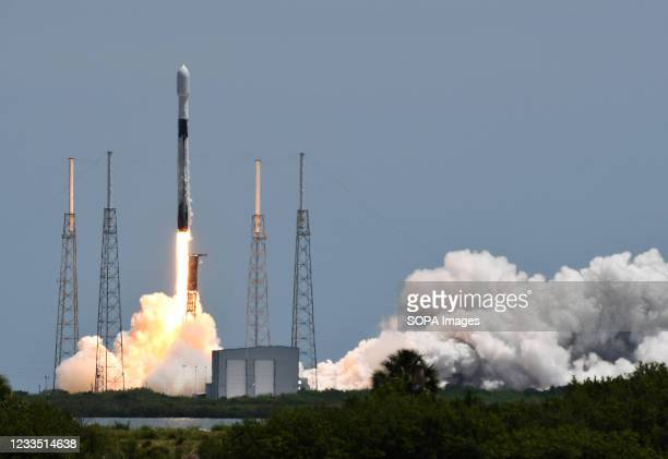 SpaceX Falcon 9 rocket carrying the U.S. Space Forces fifth third-generation navigation satellite for the Global Positioning System launches from pad...