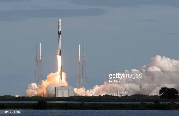 SpaceX Falcon 9 rocket lifts off from Cape Canaveral Air Force Station carrying 60 Starlink satellites on November 11, 2019 in Cape Canaveral,...