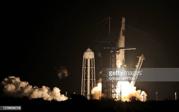 SpaceX Falcon 9 rocket lifts off from launch complex 39A at the Kennedy Space Center in Florida on November 15, 2020. - NASA's SpaceX Crew-1 mission...