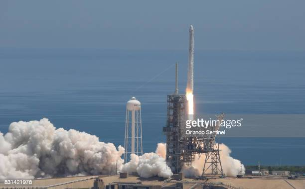 A SpaceX Falcon 9 rocket lifts off from launch pad 39A on Monday Aug 14 2017 carrying a Dragon spacecraft that will deliver cargo to the...