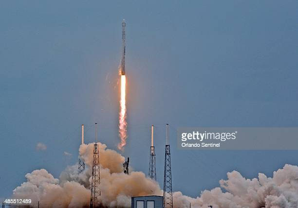 A SpaceX Falcon 9 rocket lifts off from launch Pad 40 at Cape Canaveral Air Force Station in Cape Canaveral Fla Friday April 18 2014 The rocked...