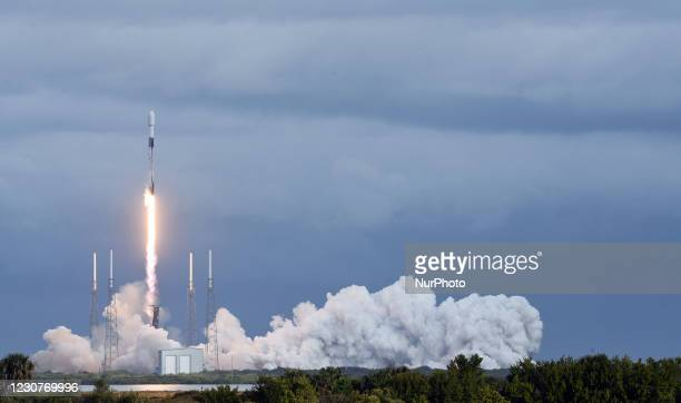 SpaceX Falcon 9 rocket lifts off from pad 40 at Cape Canaveral Space Force Station on January 24, 2021 in Cape Canaveral, Florida. The Transporter-1...