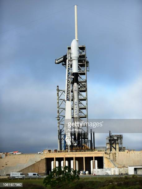 A SpaceX Falcon 9 rocket stands ready to launch the Es'hail2 communications satellite for the country of Qatar on November 15 2018 at pad 39A at the...