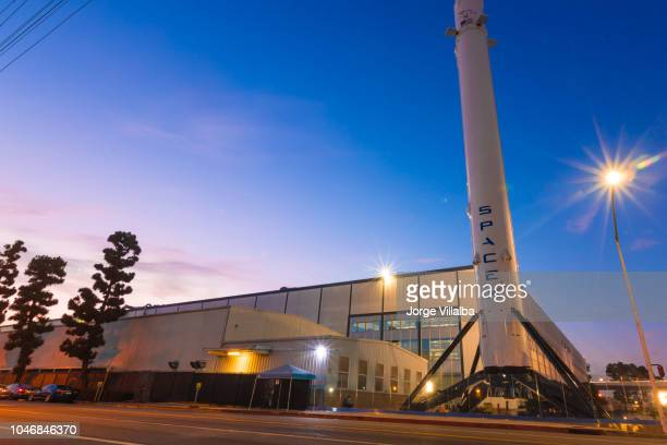 spacex headquarters in hawthorne california as a long exposure shot - spacex stock pictures, royalty-free photos & images