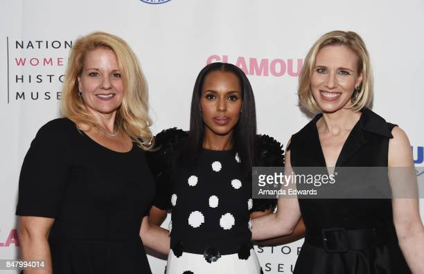 SpaceX President and COO Gwynne Shotwell actress Kerry Washington and Instagram COO Marne Levine arrive at the 6th Annual Women Making History Awards...