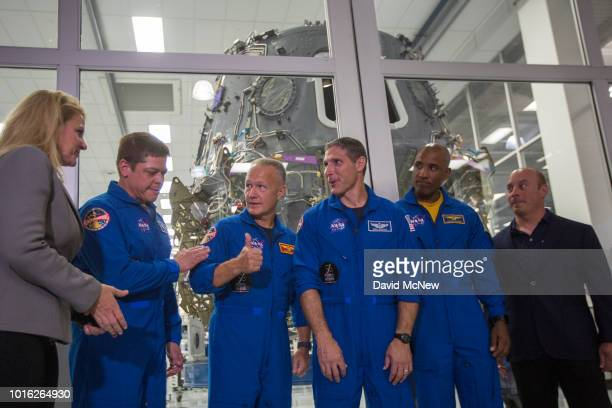 SpaceX President and COO Gwynne Shotwell NASA Astronauts Bob Behnken Doug Hurley Mike Hopkins and Victor Glover and Director of Crew Mission...