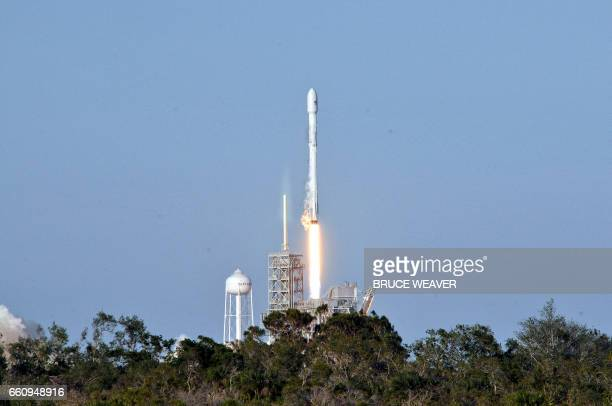 SpaceX's Falcon 9 rocket lifts off from space launch complex 39A at Kennedy Space Center Florida on March 30 with an SES communications satellite...