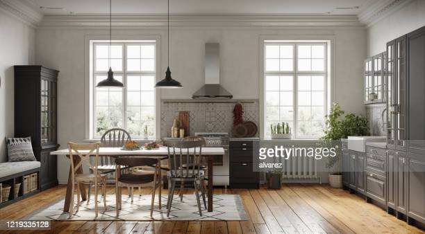 spacious dining room design next to the modern kitchen - wide stock pictures, royalty-free photos & images