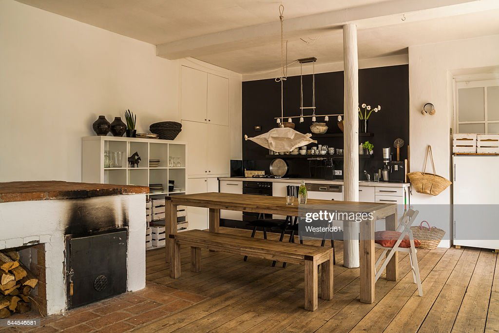Spacious dining room with wooden floor : Stock Photo