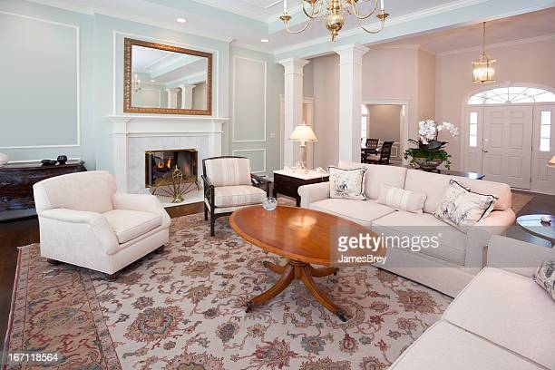 Spacious Living Room With Marble Fireplace
