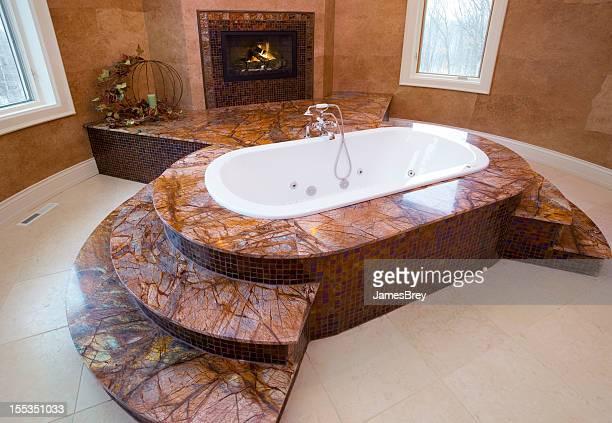 Maestro baño amplio de mármol con bañera de hidromasaje y chimenea