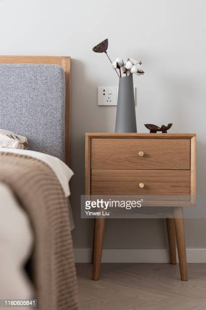 spacious modern bedroom - bed furniture stock pictures, royalty-free photos & images