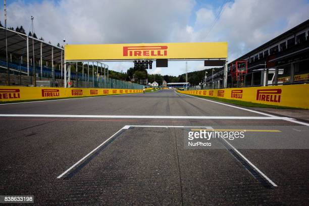SpaFrancorchamps circuit view of the pole position during the Formula One Belgian Grand Prix at Circuit de SpaFrancorchamps on August 24 2017 in Spa...