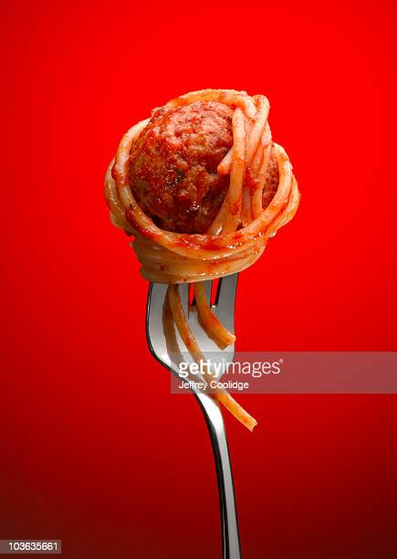 Spaghetti and Meatball on Fork
