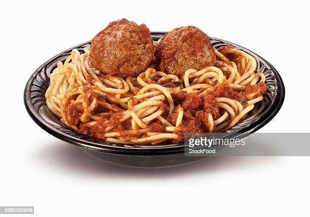 Spaghetti and Meatballs in Plastic To Go Container