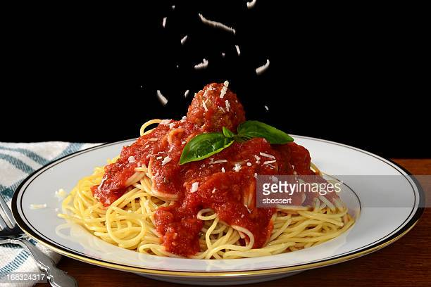 spaghetti and meatballs - parmesan cheese stock pictures, royalty-free photos & images