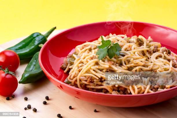 spaghetti bolognese image. - shimeji mushroom stock pictures, royalty-free photos & images