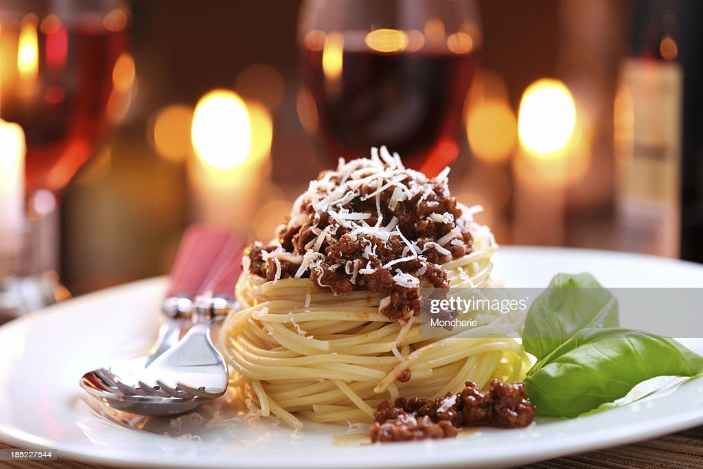 Spaghetti bolognese with parmesan cheese : Stock Photo