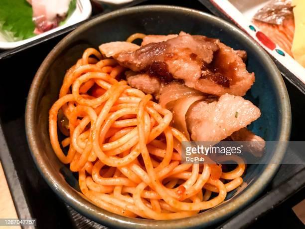 spaghetti in bento box - yōshoku photos et images de collection
