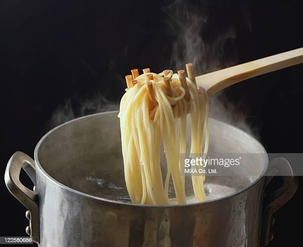 Spaghetti in cooking pot