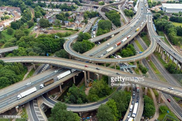 spaghetti junction m6 motorway, birmingham, england, uk - birmingham england stock pictures, royalty-free photos & images