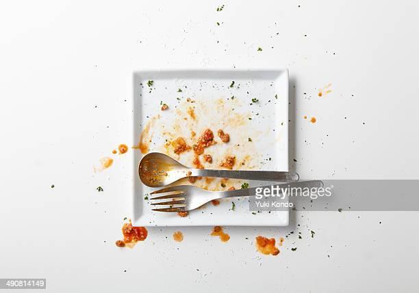 spaghetti meat you have finished eating. - plato vajilla fotografías e imágenes de stock