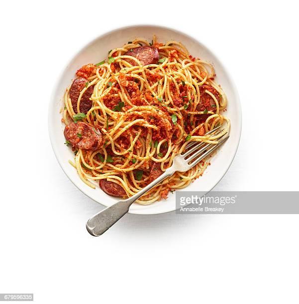 Spaghetti with chorizo & toasted paprika bread c