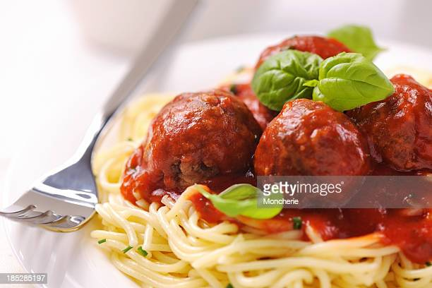 spaghetti with meatballs - marinara stock photos and pictures
