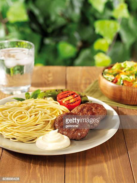 spaghetti with meatballs - mayonnaise stock pictures, royalty-free photos & images