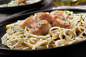 spaghetti with scallops poached garlic butter