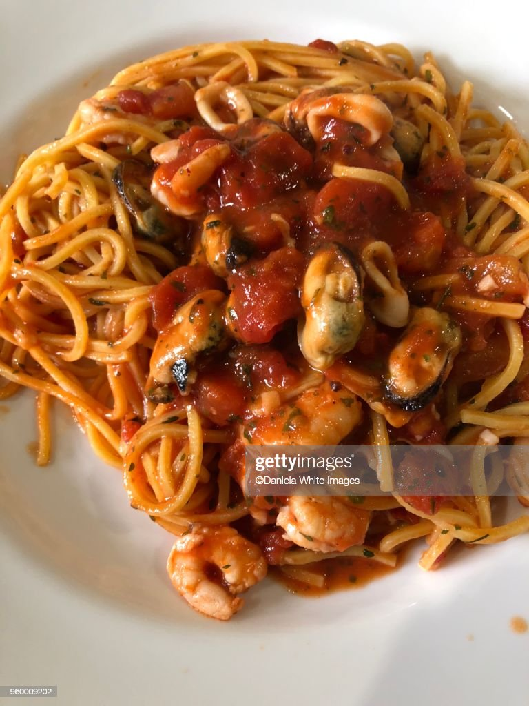 Spaghetti with seafood : Foto de stock