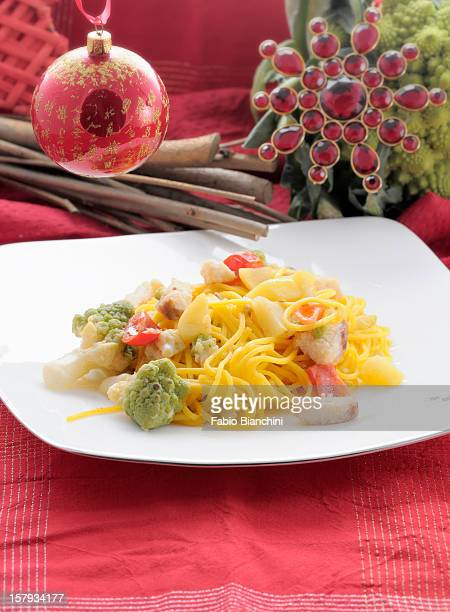Spaghetti with smooth dogfish, broccoli and potato