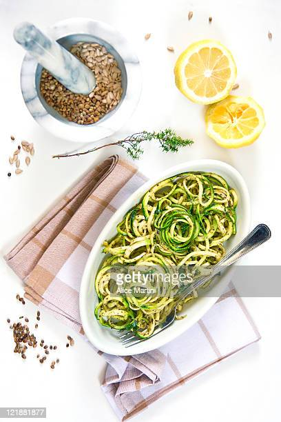 spaghetti with zucchini - zucchini stock pictures, royalty-free photos & images