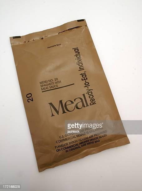 mre - spaghetti wrapper - rationing stock photos and pictures