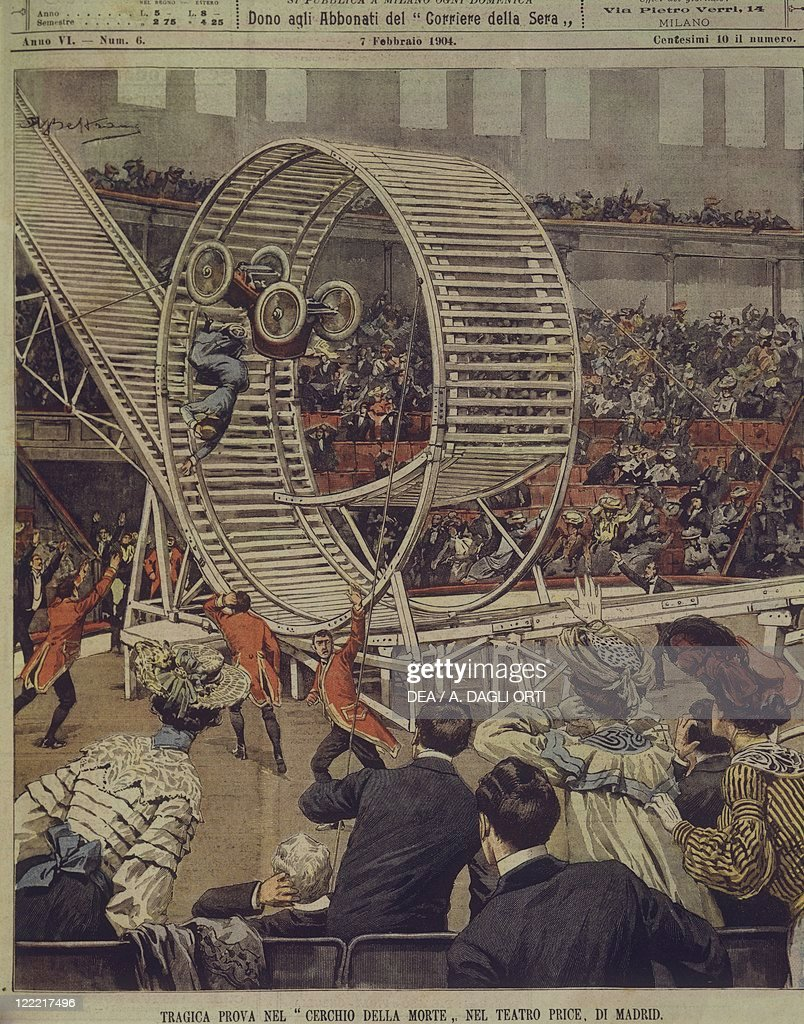 Spain, 20th century - Tragic 'wall of death' trial during car race at Madrid's Price Theatre. Cover illustration from La Domenica del Corriere, Sunday supplement to Italian daily newspaper Il Corriere della Sera, February 7, 1904. Illustrator Achille Beltrame.