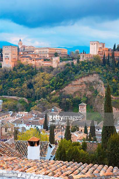 spain, analucia, granada, overview of alhambra - alhambra spain stock pictures, royalty-free photos & images