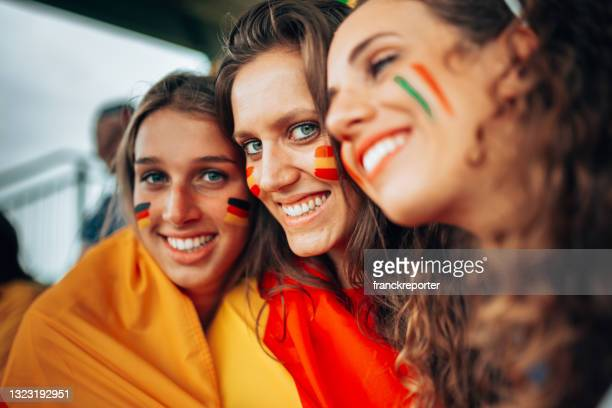 spain and french supporters at the stadium - international match stock pictures, royalty-free photos & images