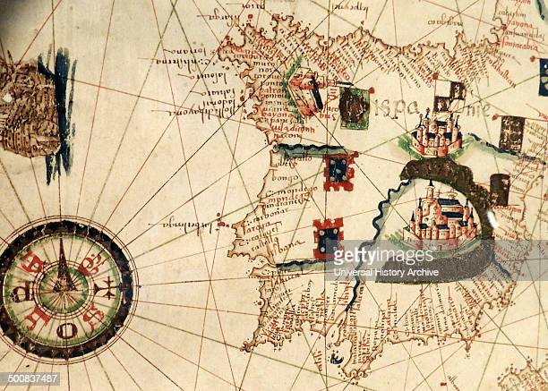 Spain and Portugal depicted in Jacopo Russo Map of the world 16th century circa 1528 from the 'Carte Geografiche'