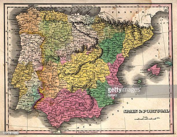 spain and portugal vintage map