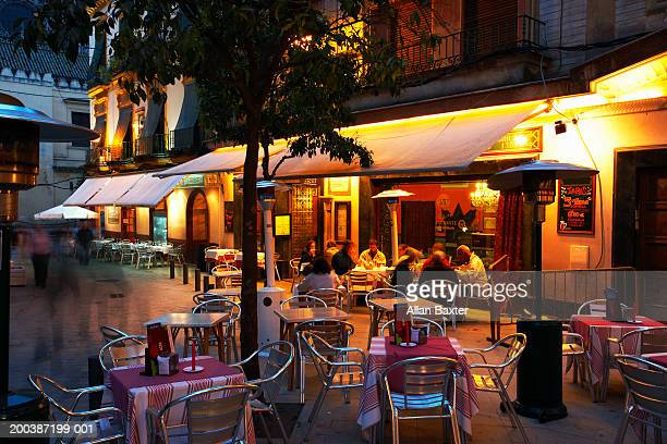 Spain, Andalucia, Seville, Old Town cafes, night