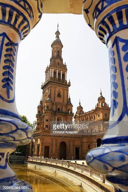 Spain, Andalucia, Seville, Plaza de Espana, view through stairs