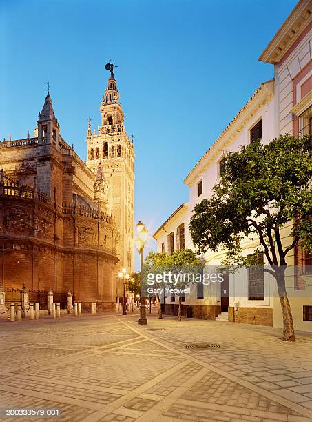 spain, andalucia, seville, seville cathedral and la giralda - sevilla fotografías e imágenes de stock
