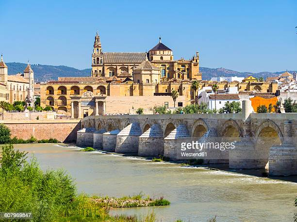 Spain, Andalusia, Cordoba, Puente Romano over Rio Guadalquivir with Mezquita-Catedral in background
