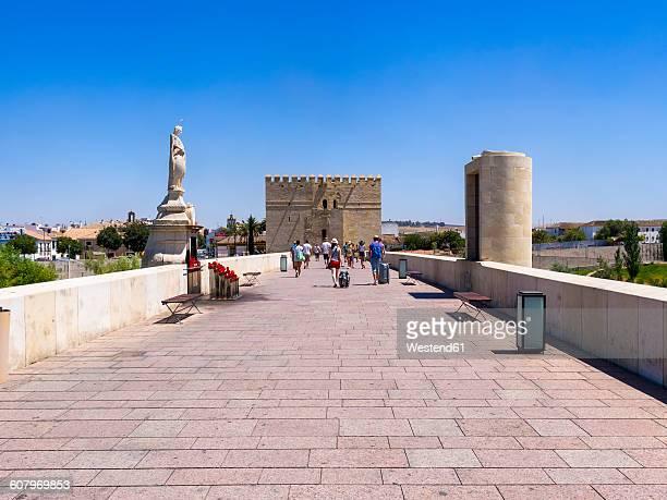 Spain, Andalusia, Cordoba, Puente Romano, statue of Saint Rafael and Torre de la Calahorra